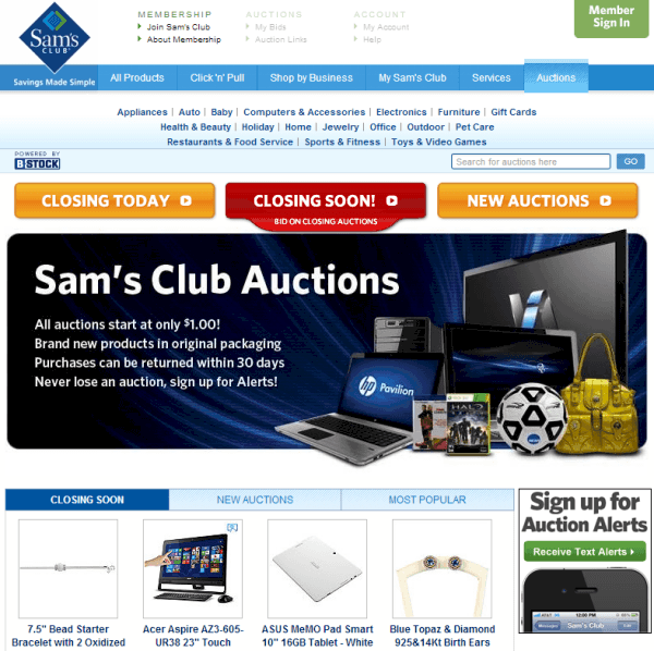 Sams club online autions roulette analysis excel